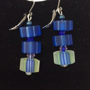 Cane glass earrings